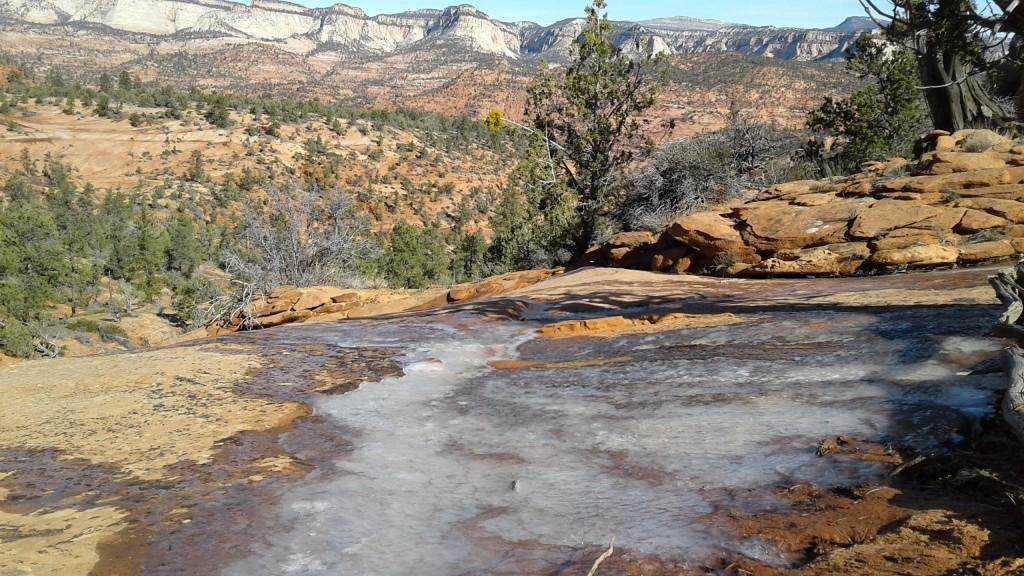 Ice slicks on trail