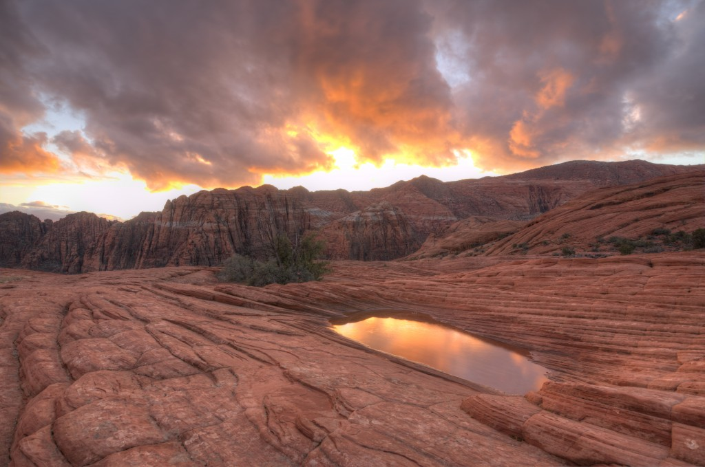 Christmas sunset and water pocket. Snow Canyon state park
